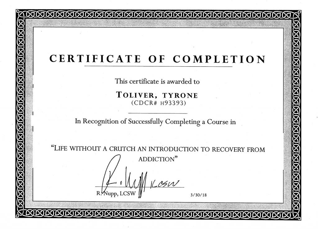One of Tyrone Toliver's certificates of completion that he has received while incarcerated.